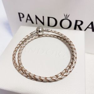 Pandora Silver&Woven Champagne Double Leather Wrap